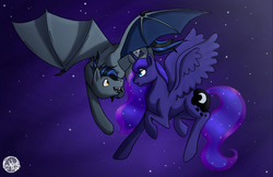 Size: 1238x800 | Tagged: artist:subduedmoon, bat pony, eye contact, flying, missing accessory, night, :o, oc, open mouth, pony, princess luna, safe, sky, smiling, spread wings, stars, surprised, wide eyes