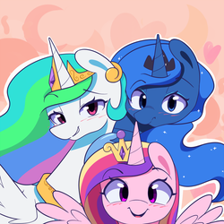 Size: 900x900 | Tagged: alicorn, artist:joyfulinsanity, blushing, cute, female, looking at you, mare, open mouth, pony, princess cadance, princess celestia, princess luna, puffy cheeks, safe, smiling