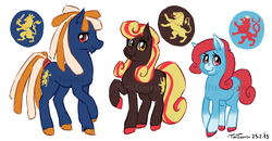 Size: 900x468 | Tagged: artist:taritoons, belgium, benelux, luxembourg, nation ponies, netherlands, oc, oc:golden praline, oc:lioneigh, oc:lynxee, oc only, safe, watermark