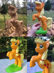 Size: 2000x2667   Tagged: safe, artist:rcwaitsart, applejack, carving, irl, photo, sculpture