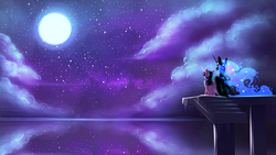 Size: 1920x1080   Tagged: safe, artist:underpable, nightmare moon, twilight sparkle, alicorn, pony, female, mare, moon, night, night sky, reflection, scenery, sitting, sky, stairs, stars, twilight sparkle (alicorn), twimoon, wallpaper, watching, water