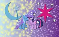 Size: 2560x1600   Tagged: safe, artist:alicehumansacrifice0, artist:mixermike622, artist:ooklah, trixie, twilight sparkle, pony, unicorn, cutie mark, female, kissing, lesbian, mare, shipping, twixie, wallpaper