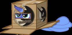 Size: 6000x2963 | Tagged: safe, artist:groxy-cyber-soul, princess luna, box, cardboard box, female, filly, hiding, moon pie, s1 luna, solo, woona