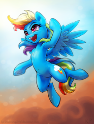 Size: 975x1275 | Tagged: safe, artist:kp-shadowsquirrel, rainbow dash, pegasus, pony, armpits, belly button, chest fluff, ear fluff, female, fluffy, flying, mare, open mouth, part of a set, solo, underhoof