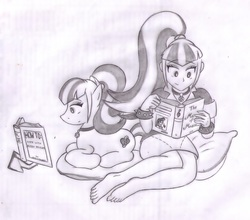 Size: 1645x1449 | Tagged: artist:poseidonathenea, barefoot, equestria girls, feet, human ponidox, missing shoes, monochrome, octavia melody, pencil drawing, ponified, reading, safe, sonata dusk, traditional art