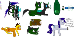 Size: 1400x766 | Tagged: 3ds, applejack, artist:derek the metagamer, badge, changeling, changelingified, cocoon, cuddling, gamer changeling, headset, laser, nightmare moon, oc, oc:derek the metagamer, queen chrysalis, queen umbra, rarity, rule 63, safe, snuggling