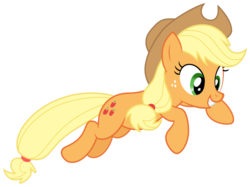 Size: 750x560 | Tagged: safe, artist:myrami, applejack, apple family reunion, .svg available, female, grin, jumping, simple background, solo, transparent background, vector