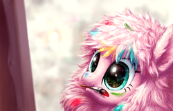 Size: 3445x2213 | Tagged: artist:hunternif, cute, daaaaaaaaaaaw, female, flufflebetes, mouth hold, oc, oc:fluffle puff, oc only, paint, paintbrush, painting, paint in hair, paint on fur, safe, starry eyes