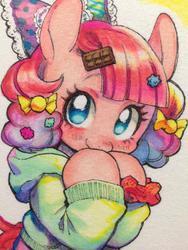 Size: 768x1024 | Tagged: safe, artist:hotomura, pinkie pie, alternate hairstyle, bow, clothes, cute, cuteamena, diapinkes, hair accessory, hair bow, harajuku, pinkamena diane pie
