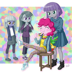 Size: 1000x1000 | Tagged: safe, artist:uotapo, boneless, gummy, limestone pie, marble pie, maud pie, pinkie pie, equestria girls, :o, annie, annie (2014 movie), blushing, clothes, cute, diapinkes, equestria girls-ified, eyes closed, female, gummybetes, limabetes, little orphan annie, marblebetes, maudabetes, messy mane, mosaic background, pants, pie sisters, pie twins, rubber chicken, shoes, siblings, sisters, sitting, smiling, sneakers, stool, uotapo is trying to murder us, weapons-grade cute, when she smiles, younger