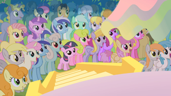 Size: 1366x768 | Tagged: safe, screencap, amethyst star, berry punch, berryshine, bon bon, candy mane, carrot top, cherry berry, cloud kicker, coco crusoe, daisy, derpy hooves, dizzy twister, doctor whooves, flower wishes, golden harvest, lemon hearts, lightning bolt, linky, lyra heartstrings, minuette, orange box, orange swirl, ponet, princess celestia, shoeshine, sparkler, sweetie drops, time turner, twilight sparkle, twinkleshine, white lightning, pegasus, pony, the cutie mark chronicles, background pony, blank flank, female, grin, looking up, mare, open mouth, princess celestia's hair, smiling, watching, younger