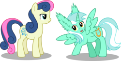 Size: 5092x2559 | Tagged: safe, artist:9de-light6, bon bon, lyra heartstrings, sweetie drops, alicorn, pony, absurd resolution, alicornified, bon bon is not amused, ear fluff, lyracorn, race swap, simple background, this isn't even my final form, transparent background