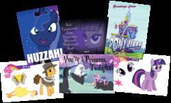 Size: 1207x728   Tagged: safe, boneless, cheese sandwich, discord, maud pie, princess cadance, princess luna, twilight sparkle, alicorn, pony, enterplay, female, harry potter, huzzah, mare, poetry, trading card, twilight sparkle (alicorn), twilight's castle
