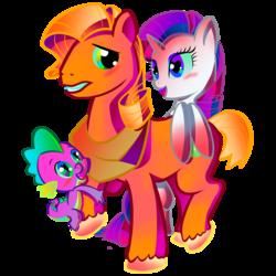 Size: 2047x2047 | Tagged: safe, artist:halem1991, big macintosh, rarity, spike, earth pony, pony, alternate hairstyle, gay, heart eyes, male, rarimac, shipping, spikentosh, stallion, straight, wingding eyes