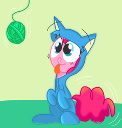 Size: 568x593   Tagged: safe, artist:mr-degration, pinkie pie, animal costume, ball, begging, behaving like a cat, cat costume, clothes, cute, dangling, excited, happy, kitty suit, pinkie cat, sitting, smiling, string, tongue out, yarn, yarn ball