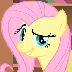 Size: 600x600 | Tagged: safe, screencap, fluttershy, pegasus, pony, a bird in the hoof, always works, dreamworks face, grin, looking at you, raised eyebrow, smirk, solo, trollface