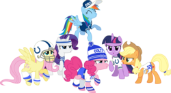 Size: 2500x1374 | Tagged: safe, artist:masem, applejack, fluttershy, pinkie pie, rainbow dash, rarity, twilight sparkle, alicorn, pony, american football, andrew luck, female, football helmet, helmet, indianapolis colts, leg warmers, mane six, mare, nfl, simple background, super bowl, super bowl xlix, sweatband, transparent background, twilight sparkle (alicorn), vector