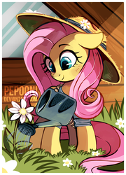 Size: 1600x2219 | Tagged: safe, artist:pepooni, fluttershy, pony, clothes, cute, female, floppy ears, flower, gardening, hat, shyabetes, solo, straw hat, watering can