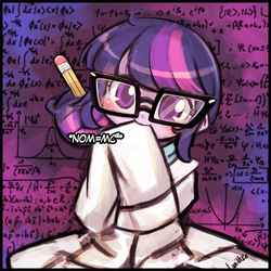 Size: 500x500 | Tagged: age regression, artist:lumineko, blushing, calculus, chalkboard, clothes, cute, dialogue, e=mc^2, equestria girls, fancy mathematics, female, glasses, head tilt, lab coat, looking at you, lumineko is trying to murder us, math, nom, pencil, physics, quantum physics, rainbow rocks, safe, science, sci-twi, smiling, solo, speech bubble, twiabetes, twilight sparkle, weapons-grade cute, younger