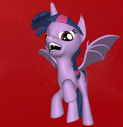 Size: 570x588 | Tagged: 3d, 3d pony creator, alicorn, bat wings, evil, evil grin, fangs, female, flying, hilarious in hindsight, looking at you, mare, pony, pony creator 3d, red eyes, render, safe, twibat, twilight sparkle, twilight sparkle (alicorn), unicorn, vampire, vampony