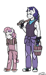 Size: 625x1000 | Tagged: safe, artist:siden, rarity, sweetie belle, oc, oc:ivory, oc:marble, anthro, unicorn, alternate universe, breasts, bucket, clothes, duo, female, overalls, pants, pickaxe, shirt, shoes, signature, simple background, sisters, smiling, ultimare universe, white background