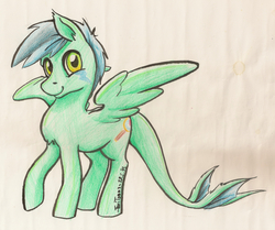 Size: 5110x4276 | Tagged: absurd res, artist:taritoons, chest fluff, ear fluff, monster pony, oc, oc only, oc:zuthal, original species, safe, solo, tatzlpony, traditional art