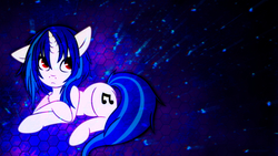 Size: 2560x1440 | Tagged: safe, artist:sgtwaflez, artist:shelmo69, dj pon-3, vinyl scratch, solo, space, wallpaper