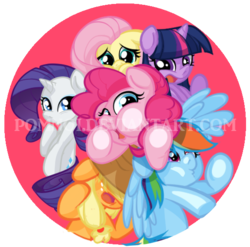 Size: 566x560 | Tagged: safe, artist:pomnoi, applejack, fluttershy, pinkie pie, rainbow dash, rarity, twilight sparkle, pony, cute, mane six, squished