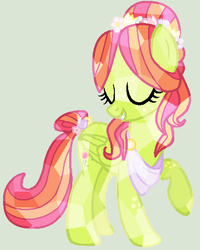 Size: 451x565 | Tagged: artist:rem-ains, crystallized, eyes closed, oc, oc only, oc:tulipa, pegasus, pony, safe, solo