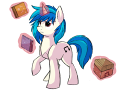 Size: 1024x768   Tagged: safe, artist:itstaylor-made, dj pon-3, vinyl scratch, cd, colored sketch, magic, solo, wrong eye color