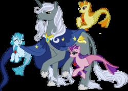 Size: 3165x2265 | Tagged: safe, artist:westphalianartist, adagio dazzle, aria blaze, sonata dusk, star swirl the bearded, classical unicorn, pony, siren, unicorn, beard, cape, clothes, cloven hooves, colored fetlocks, cute, daddy star swirl, facial hair, female, hoof fluff, leonine tail, long feather, male, quartet, stallion, unshorn fetlocks, younger