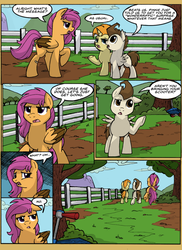 Size: 1024x1408   Tagged: safe, artist:itstaylor-made, pound cake, pumpkin cake, scootaloo, comic:twilight's reign, comic, older, scooter