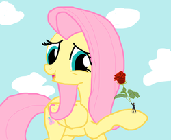 Size: 1200x978 | Tagged: safe, artist:final7darkness, fluttershy, human, clothes, giantess, love, macro, request, requested art, rose, shrunk, suit