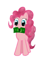 Size: 1009x1399 | Tagged: artist:empyu, dollar, money, mouth hold, pinkie pie, safe, simple background, solo, transparent background