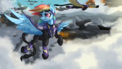 Size: 1420x800 | Tagged: safe, artist:darksittich, rainbow dash, spitfire, pegasus, fallout equestria, airship, armor, clothes, cloudship, costume, enclave, enclave armor, enclave raptor, epic, flying, goggles, grand pegasus enclave, ministry mares, ministry of awesome, power armor, scar, scenery, scorpion tail, shadowbolt armor, shadowbolt dash, shadowbolts