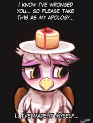 Size: 720x960 | Tagged: safe, artist:lumineko, gilda, griffon, 30 minute art challenge, apology, blushing, cake, cheesecake, cute, dialogue, female, frown, gildadorable, head carry, hilarious in hindsight, looking away, purified, reformed, sad, solo