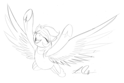 Size: 1001x674   Tagged: safe, artist:artschmo, derpy hooves, pegasus, pony, equestria games, female, flying, lineart, mare, monochrome, sketch, solo, spread wings