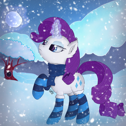Size: 766x766 | Tagged: safe, artist:goforgold, rarity, clothes, female, scarf, snow, snowfall, socks, solo, striped socks, winter