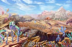 Size: 2400x1553 | Tagged: safe, artist:viwrastupr, princess celestia, oc, alicorn, changeling, insect, pegasus, pony, armor, army, badass, banner, battlefield, behemoth, bridge, butt, canyon, cliff, cloud, commission, detailed, detailed hair, epic, fanfic, fanfic art, fanfic cover, fantasy class, female, fight, flowing mane, flying, glare, helmet, mare, missing accessory, plot, scenery, sky, sword, war, warrior, warrior celestia, weapon