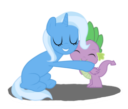 Size: 1024x878 | Tagged: safe, artist:sofilut, spike, trixie, pony, unicorn, female, hug, male, mare, shipping, spikelove, spixie, straight