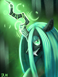 Size: 1200x1600 | Tagged: dead source, safe, artist:hitmore, queen chrysalis, changeling, changeling queen, female, glowing horn, solo