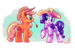 Size: 1280x838 | Tagged: applejack, artist:whitediamonds, clothes, earth pony, female, freckles, grin, hat, lesbian, mare, pony, raised hoof, rarijack, rarijack daily, rarity, rhinestone rarihick, safe, shipping, smiling, straw, unicorn