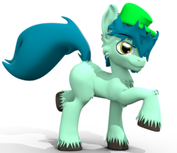 Size: 1473x1279 | Tagged: safe, artist:sherfur, oc, oc only, oc:pouncer, earth pony, pony, 3d, blank flank, male, simple background, solo, stallion, transparent background, unshorn fetlocks
