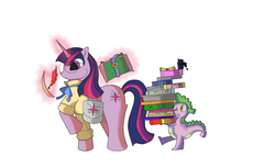 Size: 1600x970 | Tagged: safe, artist:maroy, spike, twilight sparkle, book, glasses, glowing horn, ink