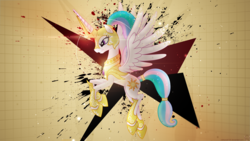 Size: 1920x1080   Tagged: safe, artist:larsurus, artist:mithandir730, princess celestia, alicorn, pony, alternate hairstyle, angry, armor, epic, female, flying, glare, gritted teeth, mare, paint, ponytail, solo, splatter, spread wings, vector, wallpaper, warrior celestia