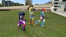 Size: 1280x720 | Tagged: safe, applejack, rainbow dash, twilight sparkle, equestria girls, 3d, 870, assault rifle, galil, gmod, gun, mk 11 mod 0, sawed off shotgun, shotgun, sr-25