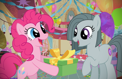 Size: 2158x1395 | Tagged: safe, artist:reitanna-seishin, marble pie, pinkie pie, alternate cutie mark, pie sisters, pie twins, present, sisters, twins