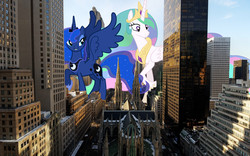 Size: 1920x1200 | Tagged: safe, artist:mattyhex, artist:santafer, artist:theotterpony, princess celestia, princess luna, pony, giant pony, giantess, giantlestia, irl, macro, new york, photo, ponies in real life