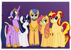 Size: 1000x700 | Tagged: alicorn, artist:faith-wolff, beard, faithverse, family, family photo, female, flashimmer, flashlight, flashlightshimmer, flash sentry, half-siblings, interdimensional siblings, male, mare, next generation, oc, oc:flare sparks, oc:stella nova, offspring, older, parent:flash sentry, parents:flashimmer, parents:flashlight, parents:flashlightshimmer, parent:sunset shimmer, parent:twilight sparkle, pegasus, polyamory, pony, purple background, safe, shipping, simple background, smiling, straight, sunset shimmer, twilight sparkle, twilight sparkle (alicorn), unicorn