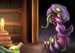 Size: 2046x1447 | Tagged: adoracreepy, artist:lovelyneckbeard, book, bookworm, candle, looking at you, monster girl, :o, part of a set, potion, reading, safe, solo, species swap, twilight sparkle, twiworm, worm, worm pony